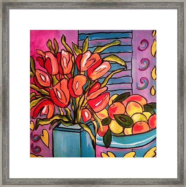 Tulips And Fruit Framed Print