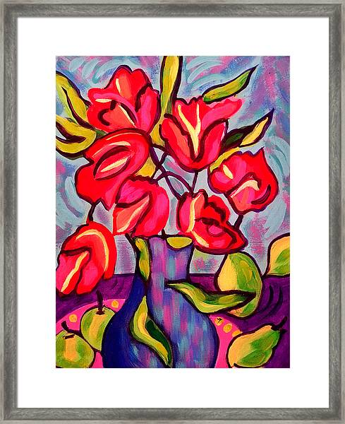 Tulips With Fruit Framed Print