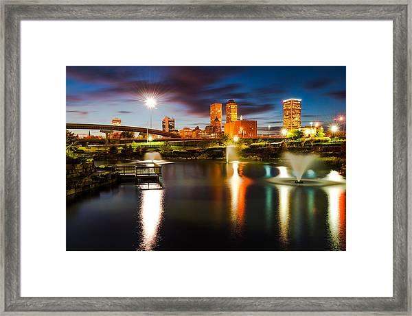 Tulsa Oklahoma City Lights Framed Print