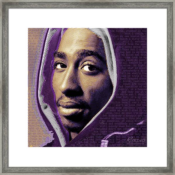 Tupac Shakur And Lyrics Framed Print