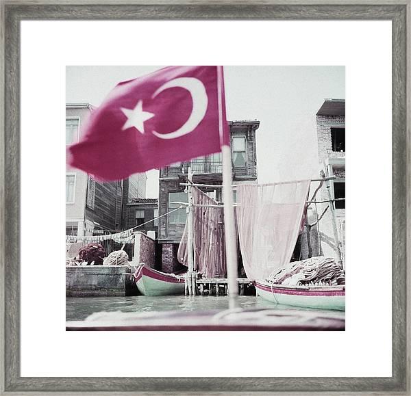 Turkish Flag On A Boat Framed Print