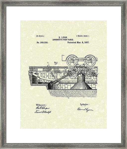Turn Table 1887 Patent Art Framed Print by Prior Art Design