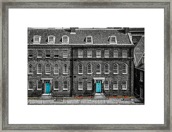 Turquoise Doors At Tower Of London's Old Hospital Block Framed Print