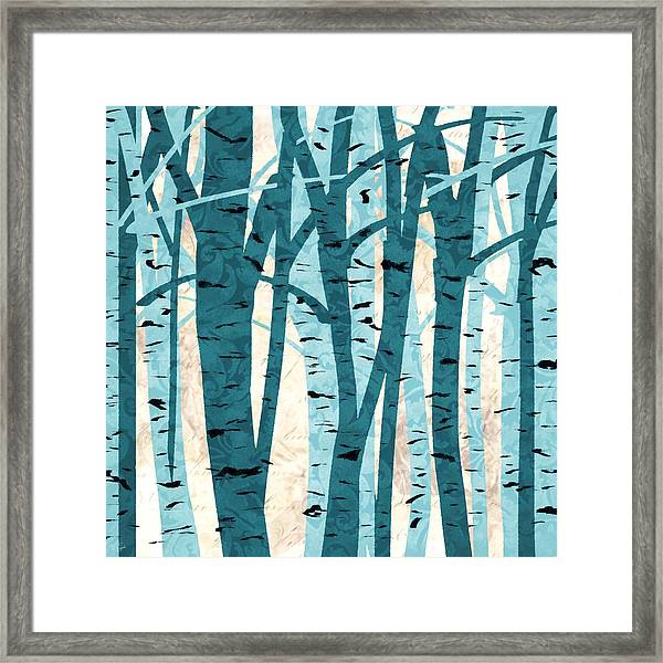 Turquoise Birch Trees Framed Print