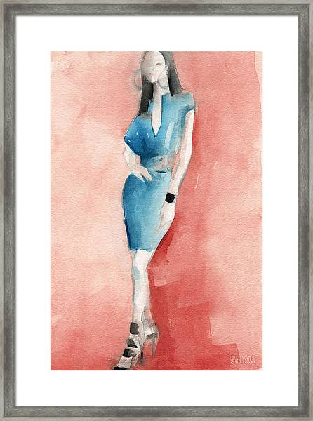 Turquoise Dress Watercolor Fashion Illustration Framed Print