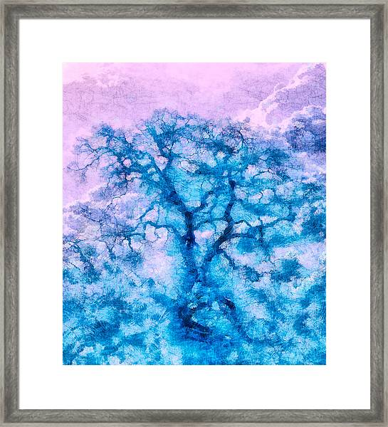 Framed Print featuring the digital art Turquoise Oak Tree by Priya Ghose