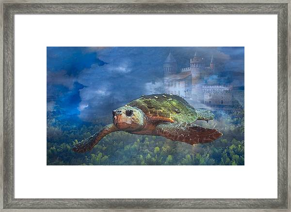 Turtle In Atlantis Framed Print