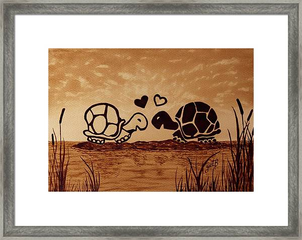 Turtles Love Coffee Painting Framed Print