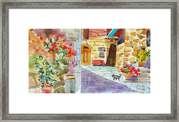 Tuscan Street Scene Framed Print