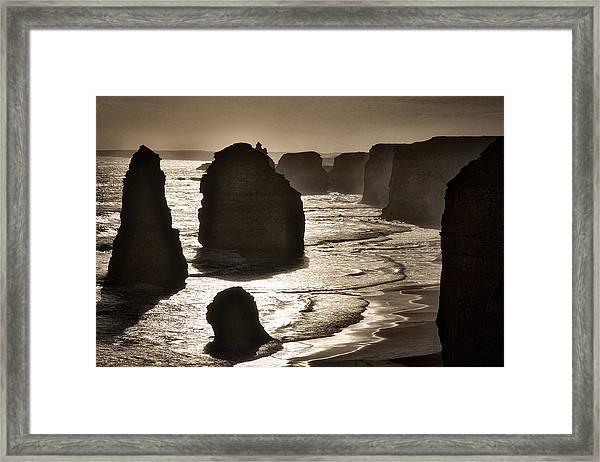 Twelve Apostles #3 - Black And White Framed Print