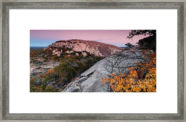 Twilight And Earth Shadow At Enchanted Rock State Natural Area - Fredericksburg Texas Hill Country Framed Print