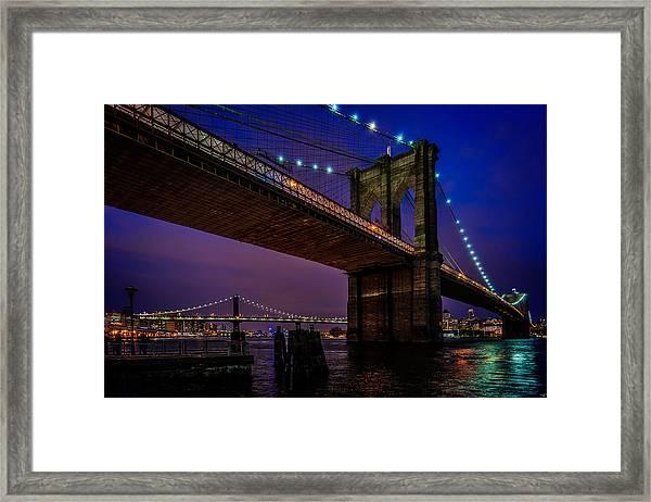 Twilight At The Brooklyn Bridge Framed Print