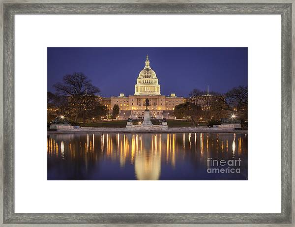Framed Print featuring the photograph Twilight At Us Capitol by Brian Jannsen