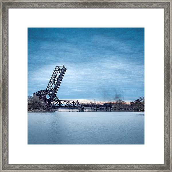 Twilight Locomotive Crossing Buffalo River Framed Print