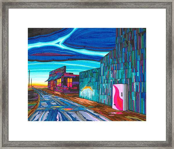 Framed Print featuring the drawing Twilight On The Central Plains by Scott Kirby