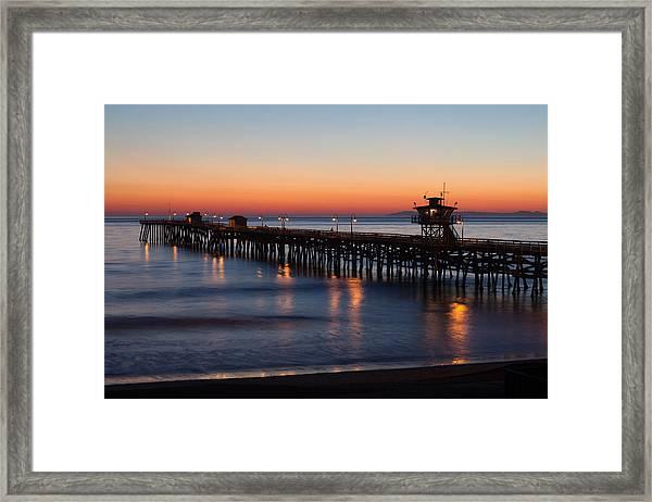 Twilight San Clemente Pier Framed Print