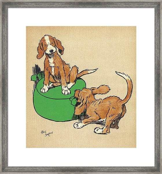Twin Puppies, Snip And Snap, Quarrel Framed Print
