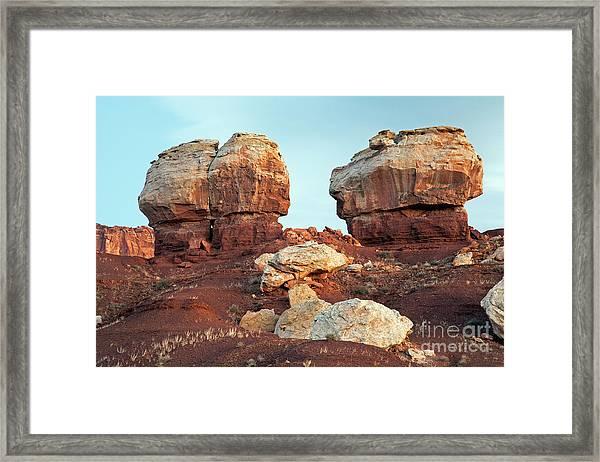 Twin Rocks At Sunrise Capitol Reef National Park Framed Print
