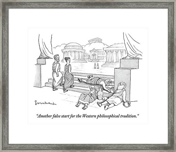 Two Ancient Greeks Walk Past A Pile Of Drunk Framed Print