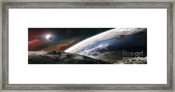 Two Astronauts Exploring A Moon Framed Print