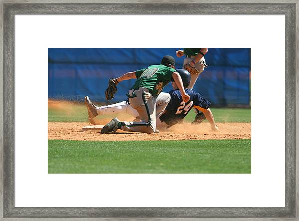 Two Baseball Players Playing A Game Of Baseball Framed Print by RBFried