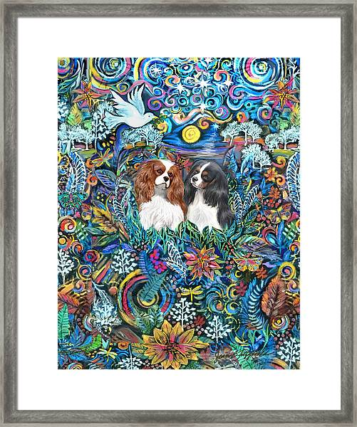 Two Cavaliers In A Garden Framed Print