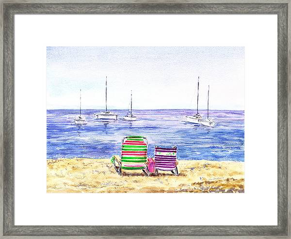 Two Chairs On The Beach Framed Print