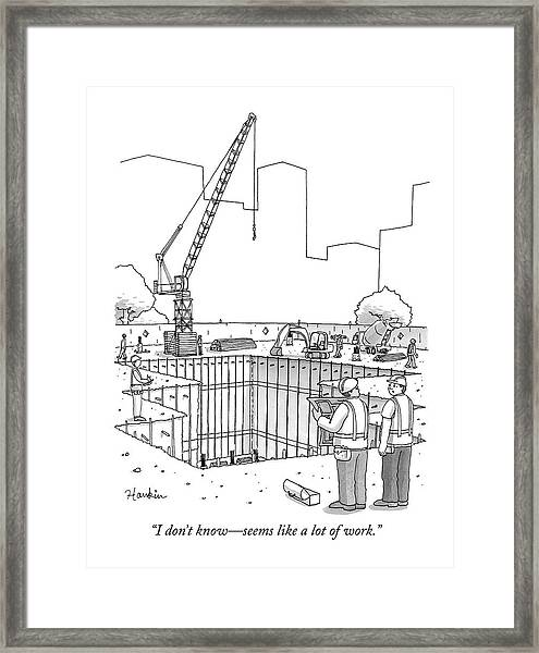 Two Construction Workers Look Out Over A Massive Framed Print