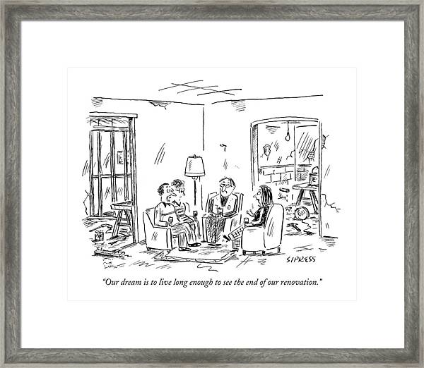 Two Couples Sitting In The Middle Of A House Framed Print