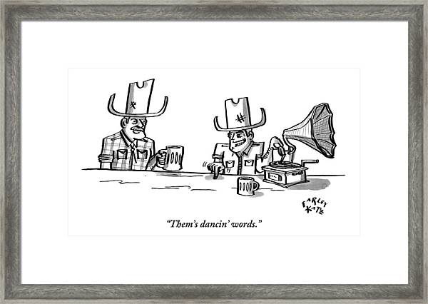 Two Cowboys Sit Drinking Beer. A Phonograph Rests Framed Print