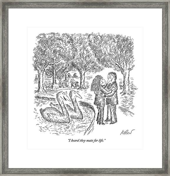 Two Ducks Observe A Man And Woman Embracing Framed Print