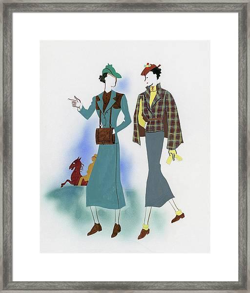 Two Fashionable Women Walking In Park Framed Print by Raymond de Lavererie