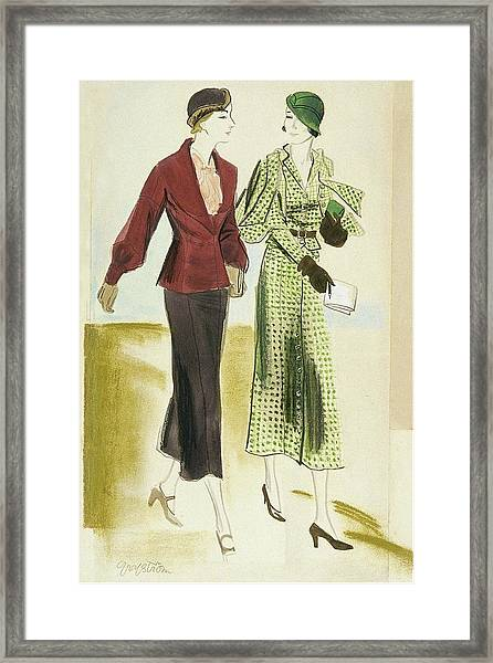 Two Fashionable Young Women Framed Print