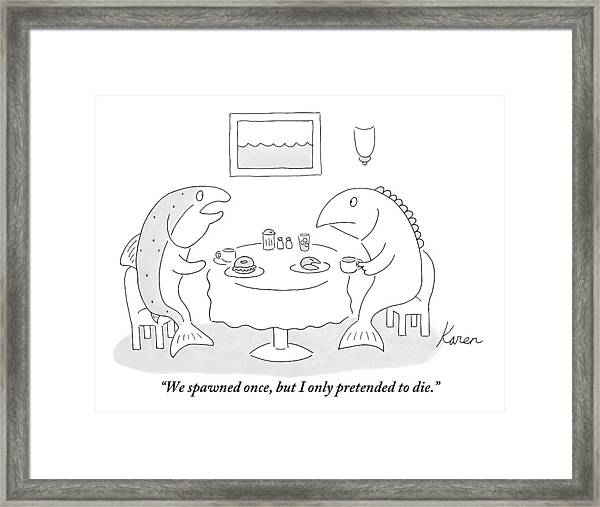 Two Fish Sit At A Table Drinking Coffee Framed Print