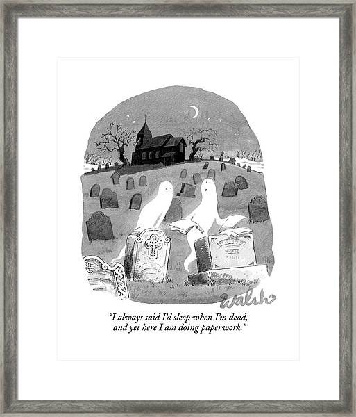 Two Ghosts Talk In A Graveyard.  One Is Holding Framed Print