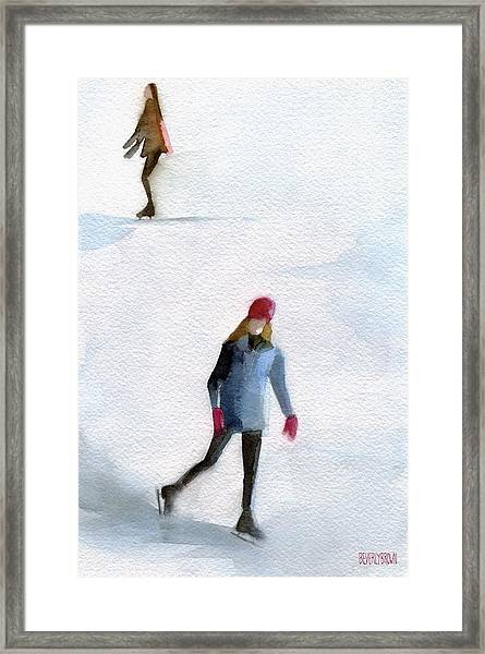 Two Girls Ice Skating Watercolor Painting Framed Print