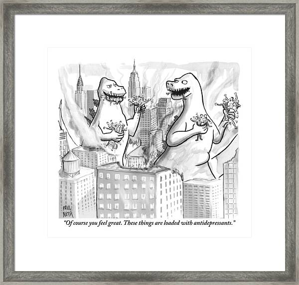 Two Godzillas Talk To Each Other Framed Print
