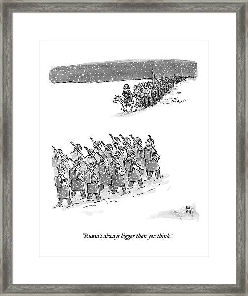 Two Groups Of Army Troops Walk In Opposite Framed Print