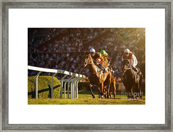Two Jockeys During Horse Races On His Framed Print