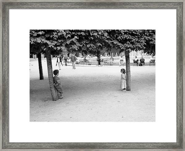 Two Kids In Paris Framed Print