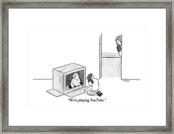 Two Kids Playing With A Cardboard Box Framed Print