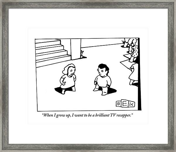 Two Kids Speak To Each Other Framed Print