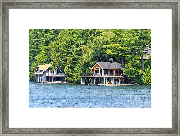 Two Luxury Boathouses Framed Print
