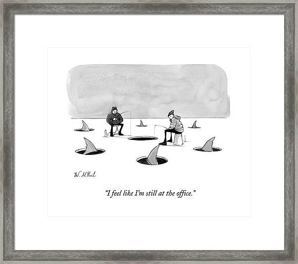 Two Men Ice Fishing Framed Print