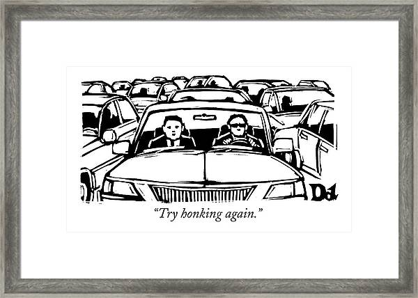 Two Men In A Car Are Stuck In Traffic Framed Print