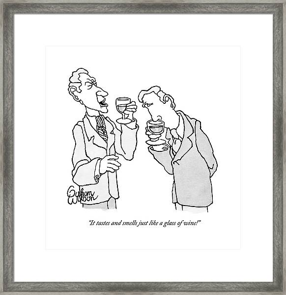 Two Men In Suits Hold Wine Glasses.  One Framed Print
