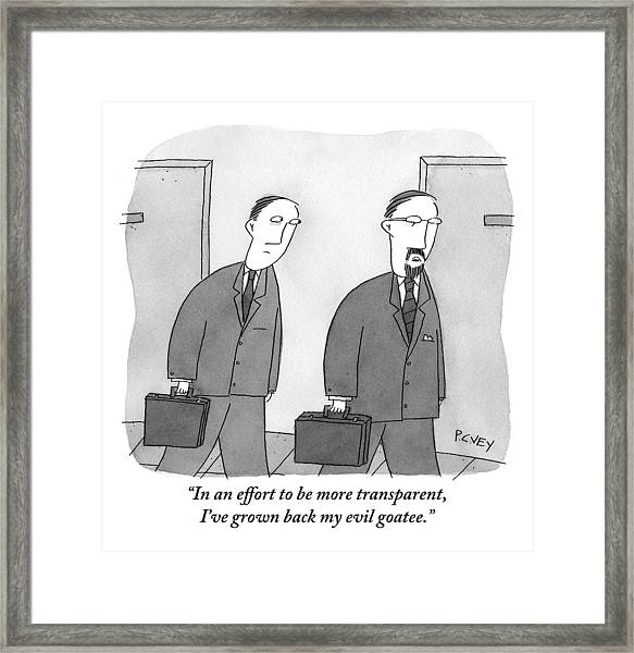 Two Men In Suits Walk Together.  One Has A Full Framed Print