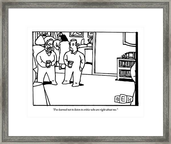 Two Men Speaking On Left Side Of Frame. They're Framed Print