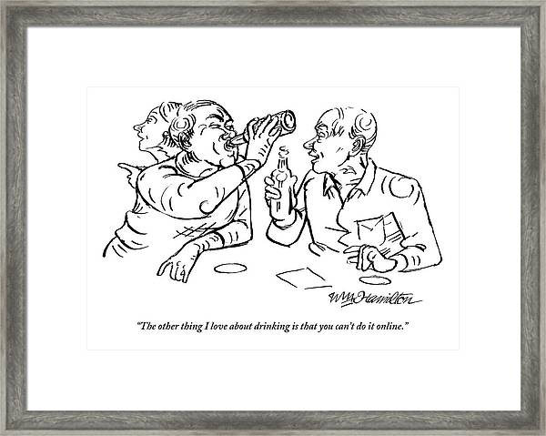 Two Men Talk In A Bar Holding Beer Bottles Framed Print