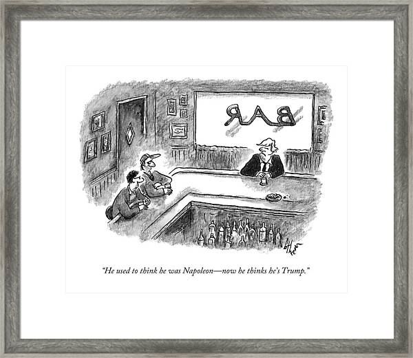Two Men Talking About Trump In A Bar Framed Print
